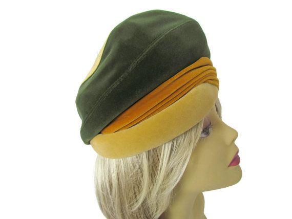 Turban Hat Forest Green Velvet  Large Womens by WhyWeLoveThePast