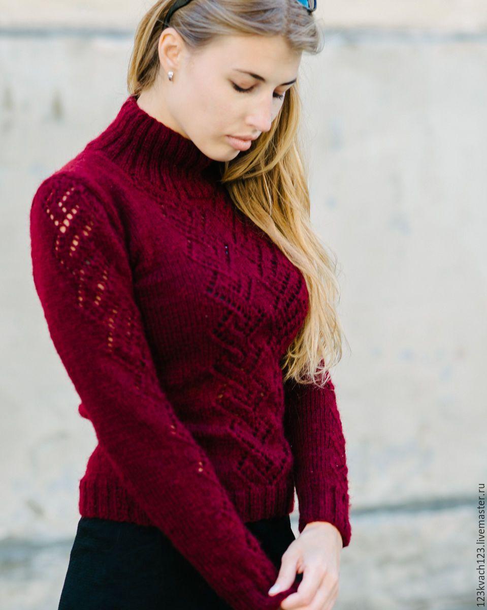 купить ажурные ромбы бордовый свитер свитер вязаный свитер