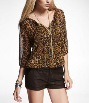 Printed Banded Bottom Blouse At Express Fashion Undies In 2018