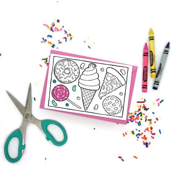 Diy Cute Junk Food Printable Coloring Card Pizza Party Kawaii