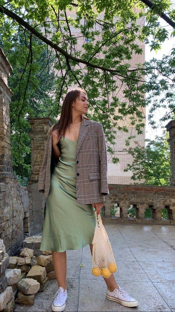 V-neck silk slip dress midi Sage green silk dress bias cut Pale green stretch silk dress Date dress pistachio Sage green bridesmaid dress -   18 sage green aesthetic fashion ideas