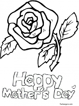 Printable Red roses for happy Mothers Day coloring pages - Printable Coloring Pages For Kids