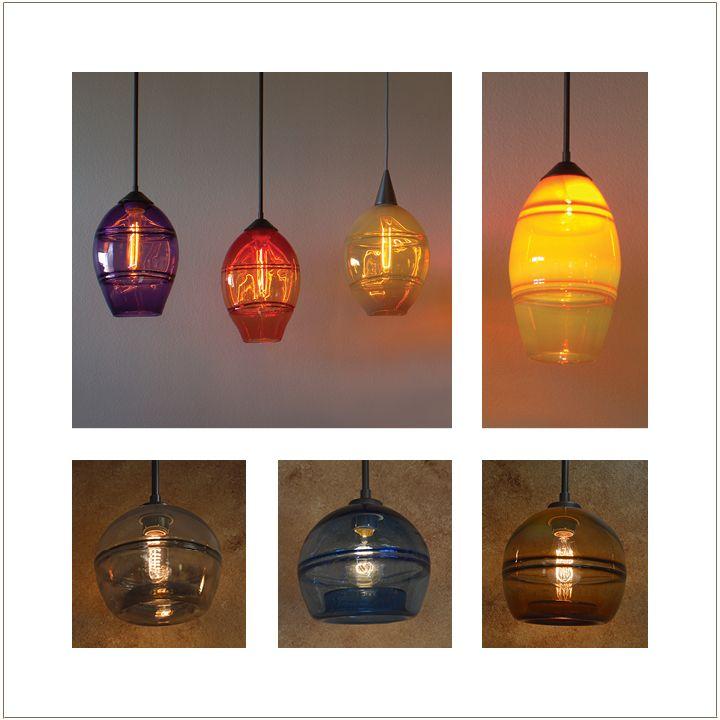 Wimberley glassworks blown glass lighting tilted horizons globe pendant