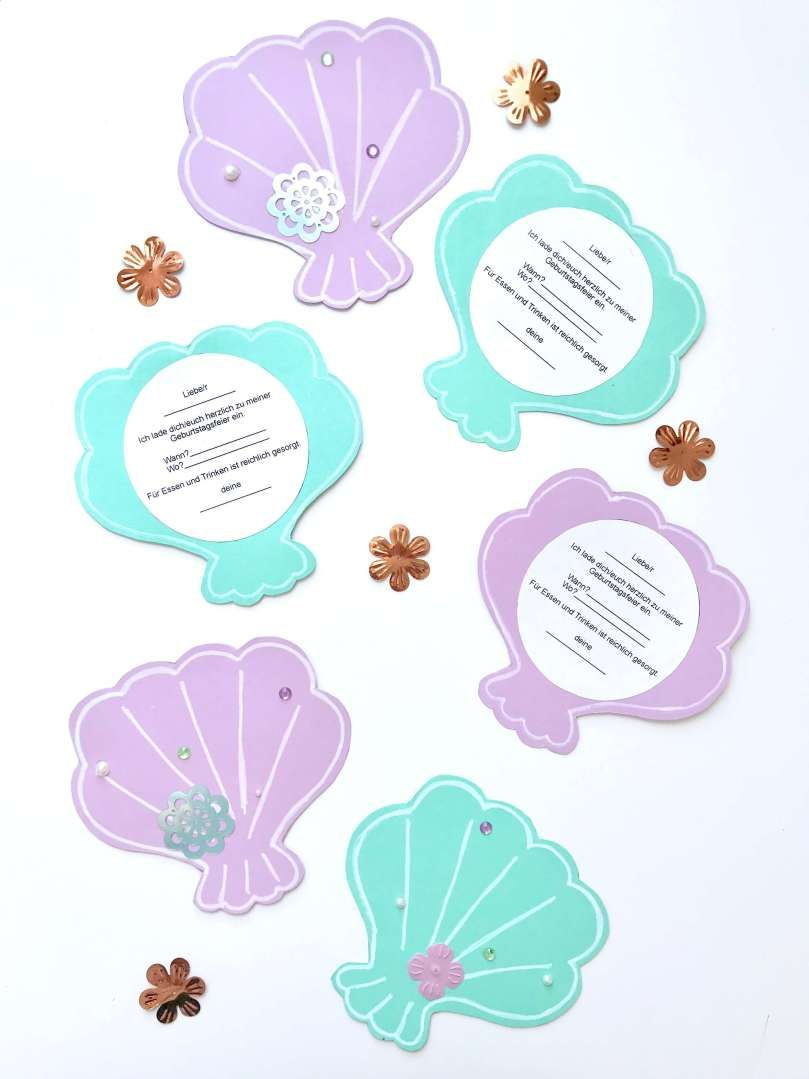 Photo of Invitation cards for mermaid birthday + templates freebie