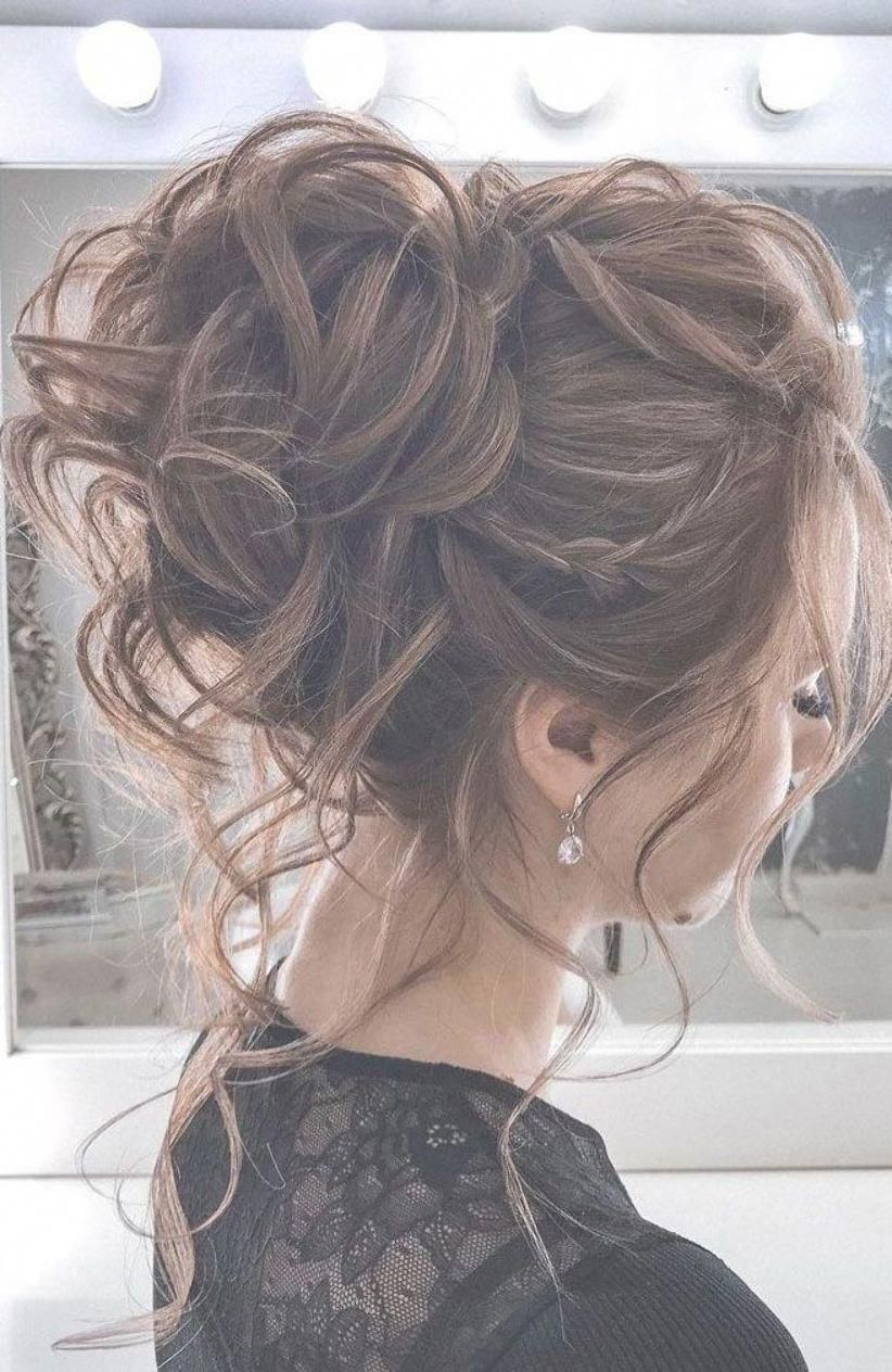 44 Romantic Messy Updo Hairstyles For Medium Length To Long Hair Messy Updo Hairstyle For Elegant In 2020 Medium Length Hair Styles Hair Styles Loose Hairstyles