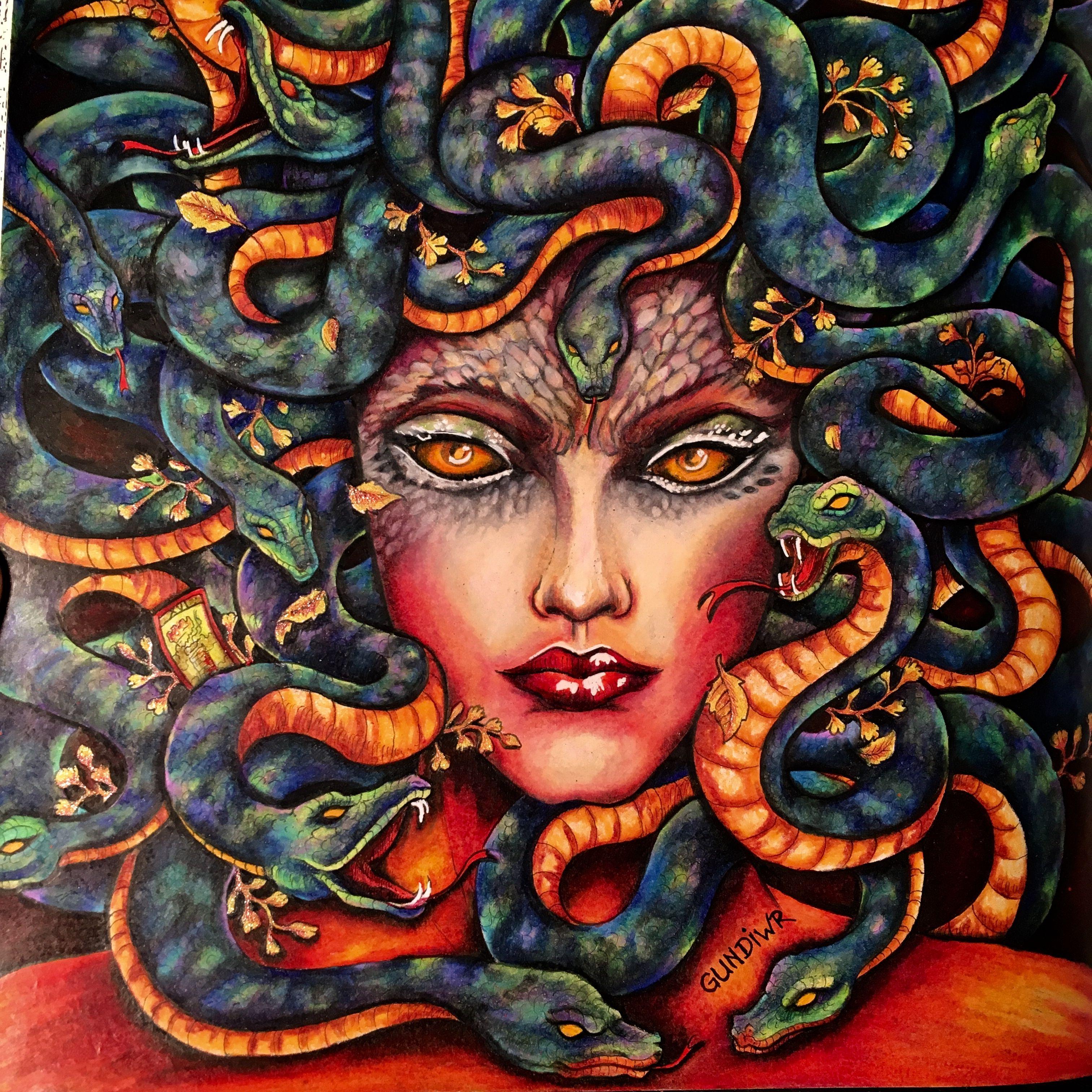Medusa Mythomorphia Kerby Rosanes Colored By Gundiwr Coloring Book Art Animorphia Coloring Book Animorphia Coloring