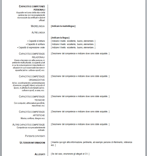 Curriculum Vitae Formato Europeo Formato De Curriculum Vitae