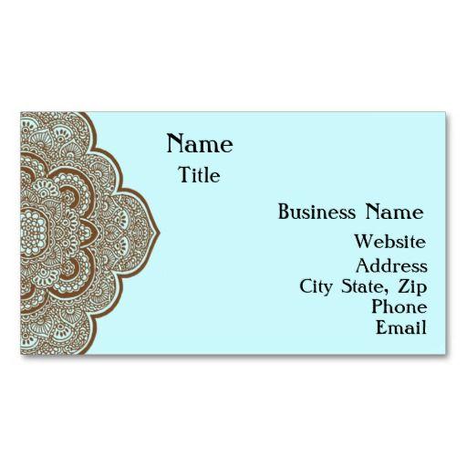 Blue And Brown Henna Business Card Craft Ideas Henna Business