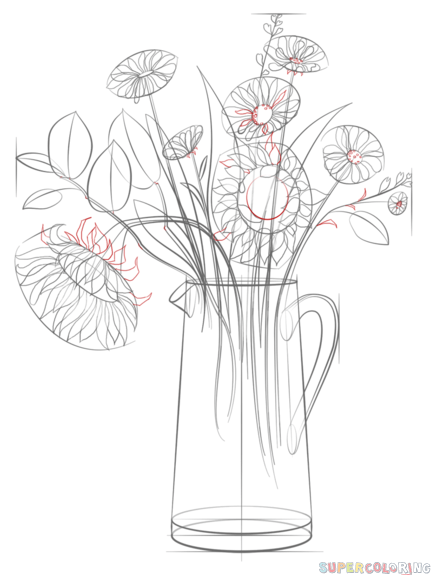 How to draw a bunch of flowers in a vase step by