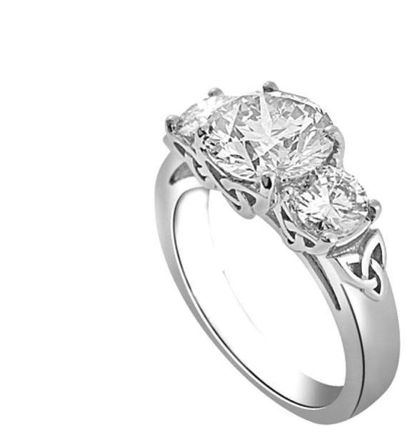 Celtic Ring Women Celtic Engagement Ring Trinity Knot Ring Three