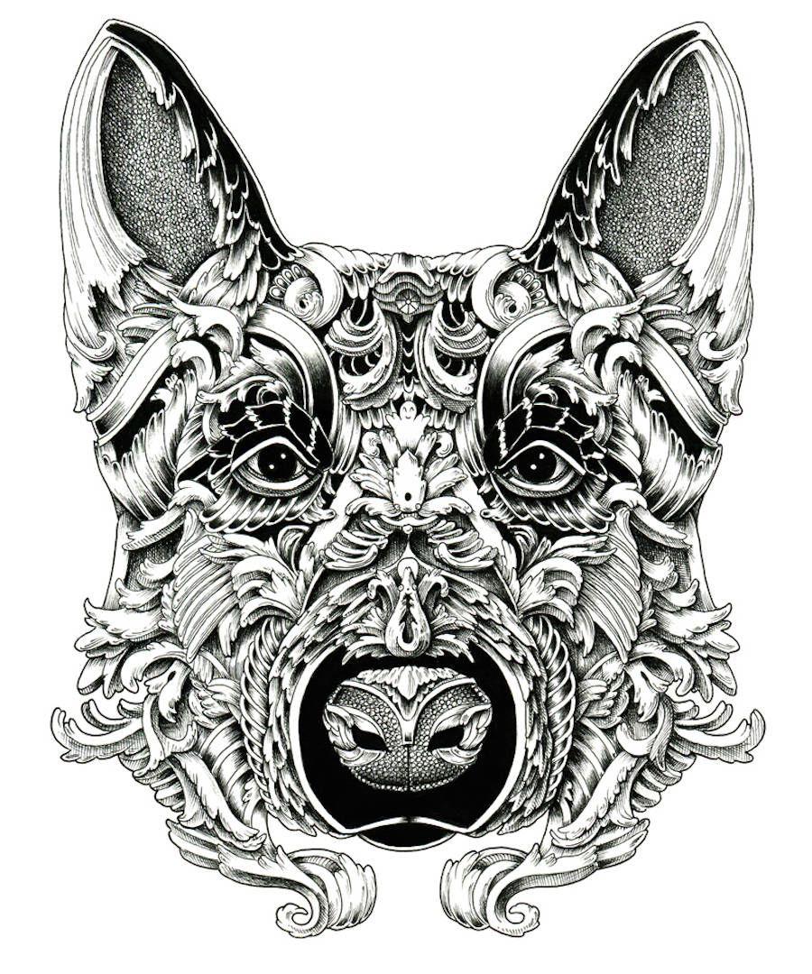 Stunning Ornate Dog Heads Drawings Bilder Kule Bilder Kul [ 1080 x 900 Pixel ]