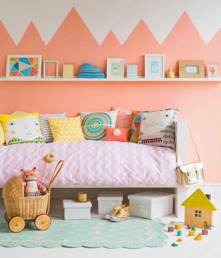 Wandgestaltung Im Kinderzimmer   Zweifarbige Wand | Kinderzimmer Für Mädchen  | Girls Room Ideas | Pinterest.