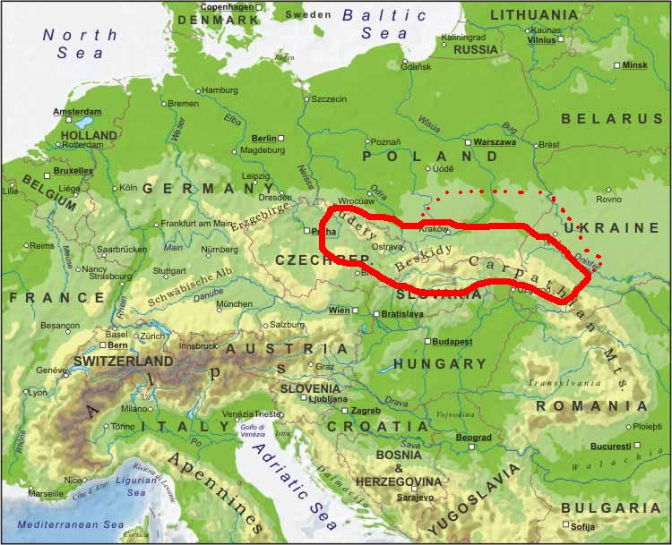 Carpathian Mountains Map Map of Carpathian Ruthenia   where Pogans are from | Family  Carpathian Mountains Map