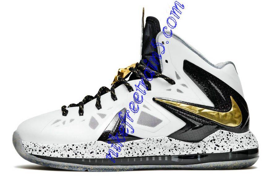 limited guantity where to buy on feet shots of Nike Lebron 10 PS Elite 579834 100 White Metallic Gold Black ...