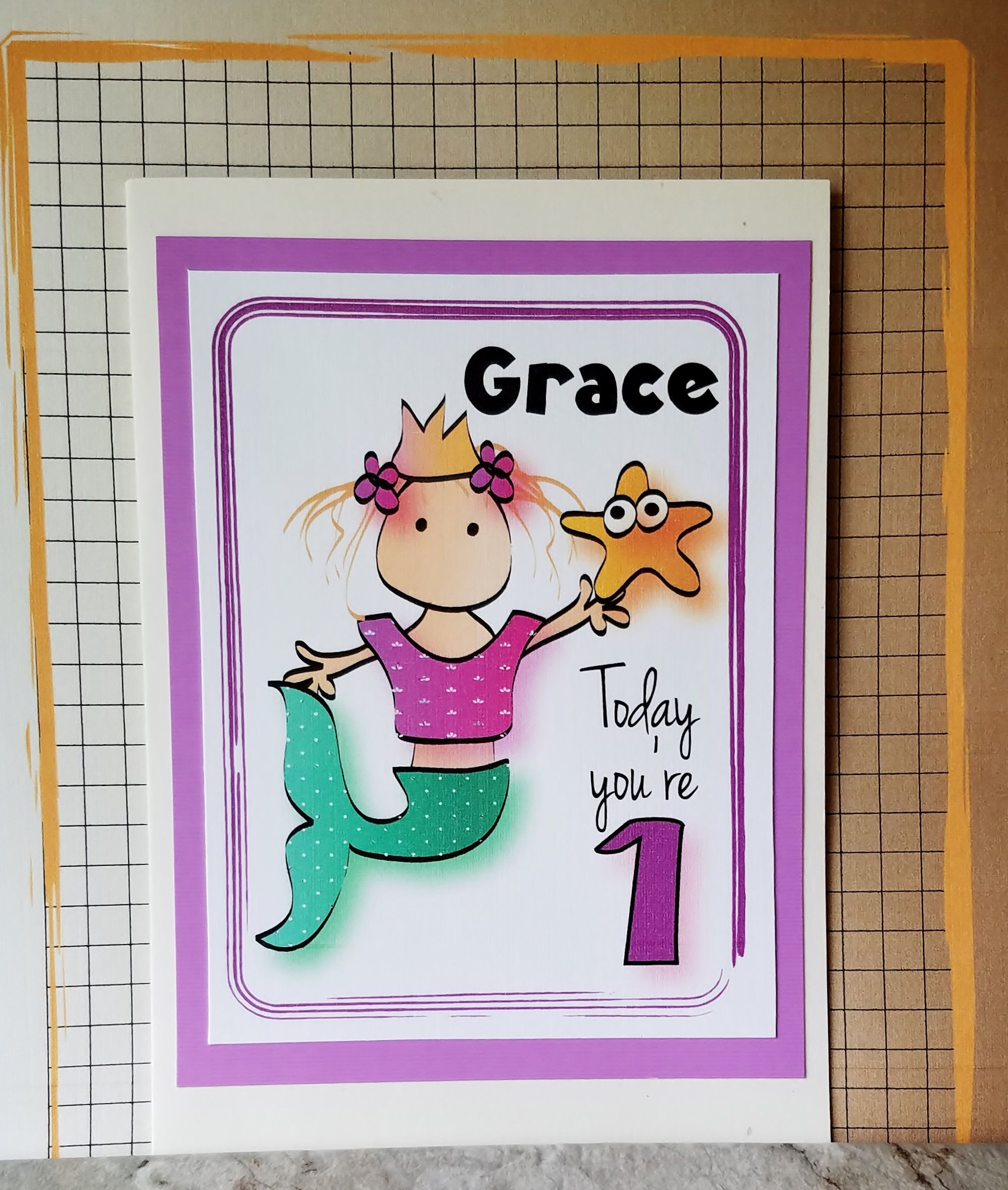 Mermaid birthday card for little girl personalized first birthday
