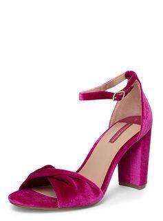 b5c95927684a Velvet Ankle Strap Block Heel Sandals from Dorothy Perkins £30