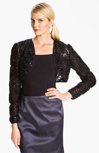 Adrianna Papell Embroidered Sequin Mesh Bolero (Petite) available at #Nordstrom