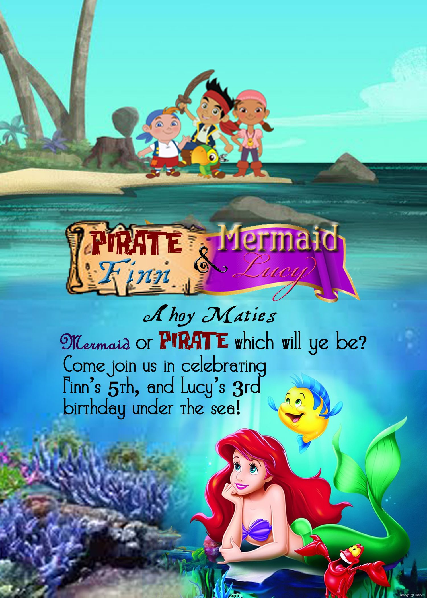 Jen Virch Creations, Mermaid, Pirate, Birthday, Jake and the ...