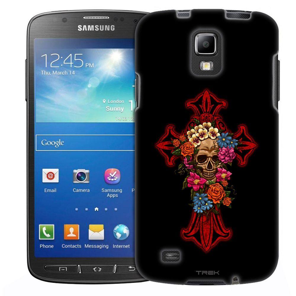 Samsung Galaxy S4 Active Cross Skull on White Slim Case