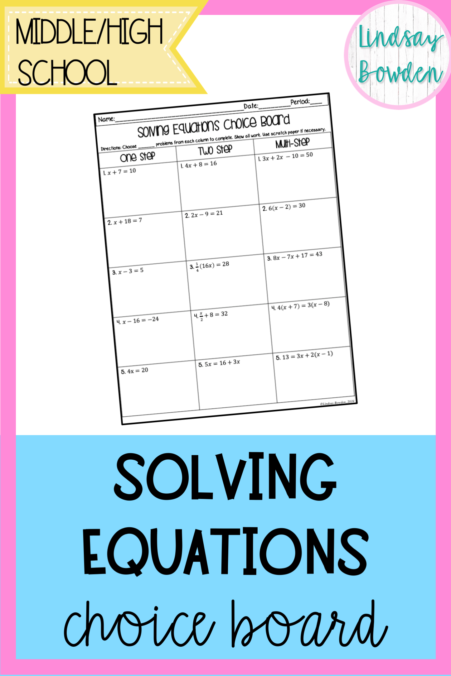 Solving Linear Equations Choice Board