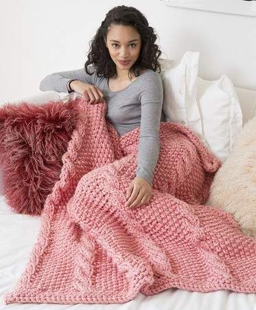 Big Cables Throw Knit Afghan Lap Blanket Yarn Knit Crochet Yarn
