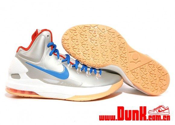 huge selection of d9a8c 8a418 kevin durant shoes 2013 Nike KD V Birch Photo Blue Sail Team Orange