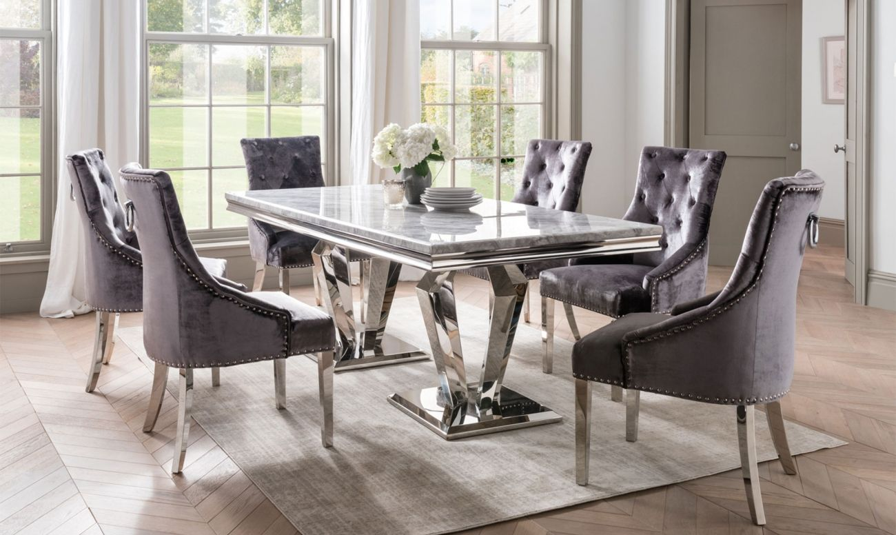 Missano Grey Rectangle Grey Dining Tables Dining Table Marble Marble Top Dining Table
