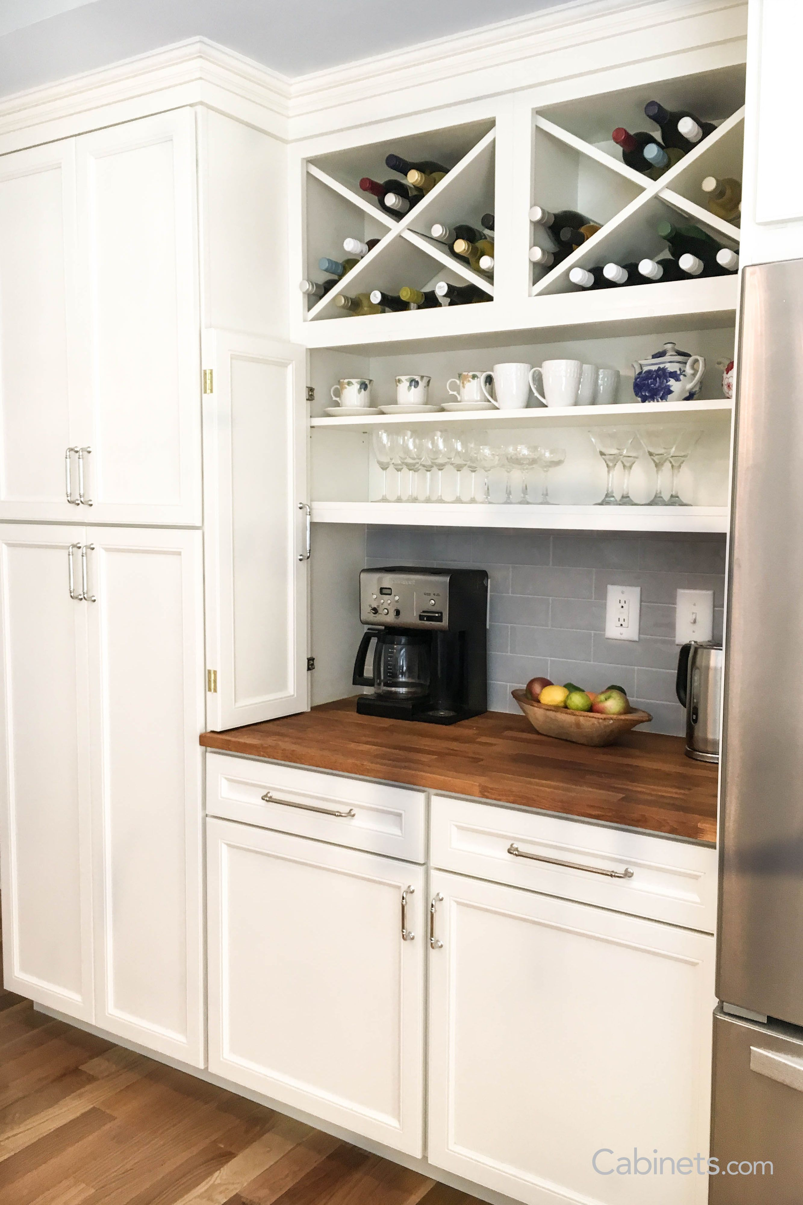 Wine Storage Coffee Center The Perfect Set Up For All Times Of Day In 2020 Online Kitchen Cabinets Buy Kitchen Cabinets Kitchen Cupboard Plans