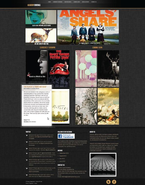 Academy Cinemas Website on Behance