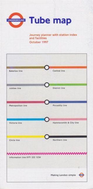 1997 London Underground Tube Map Cover | London Underground Pocket ...