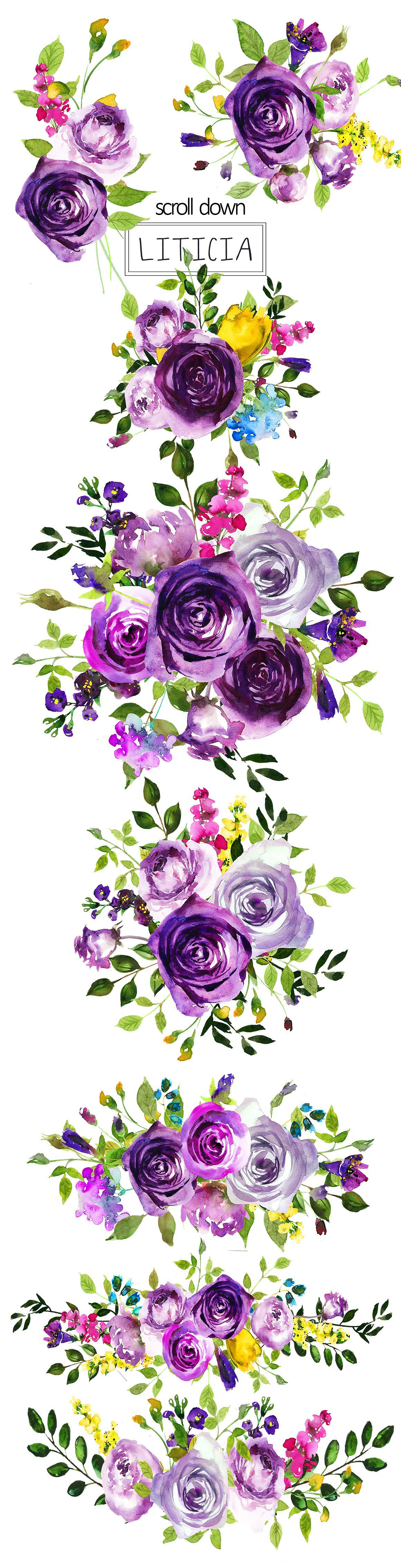 hight resolution of purple violet flowers clipart set