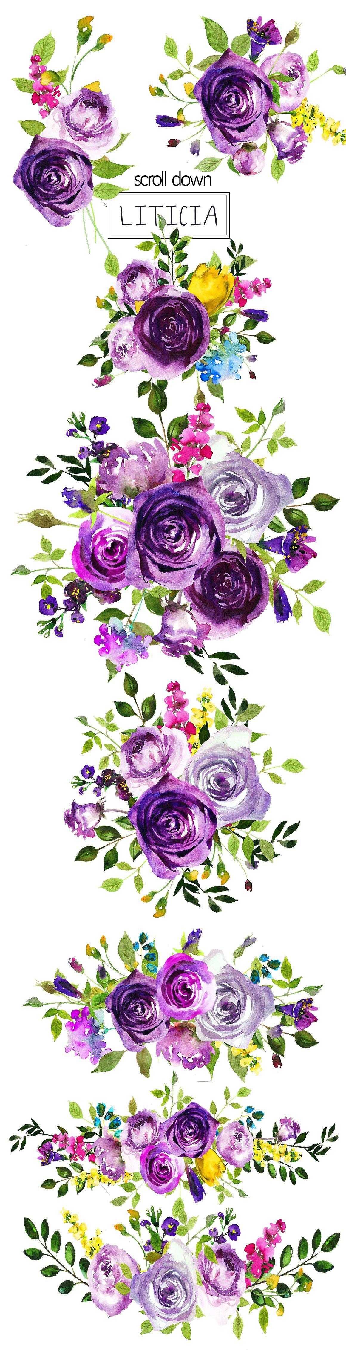 purple violet flowers clipart set [ 1160 x 4537 Pixel ]