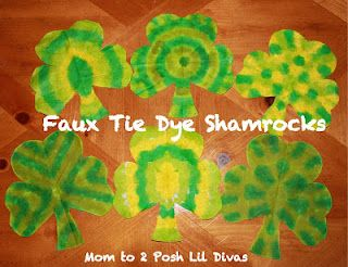 faux tie dye (coffee filter) shamrocks - easy craft for St. Patrick's Day