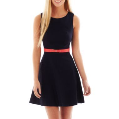 navy dress with coral belt my style