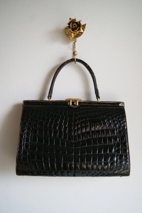 50s Handbag Vintage 1950s Oversized Crocodile by