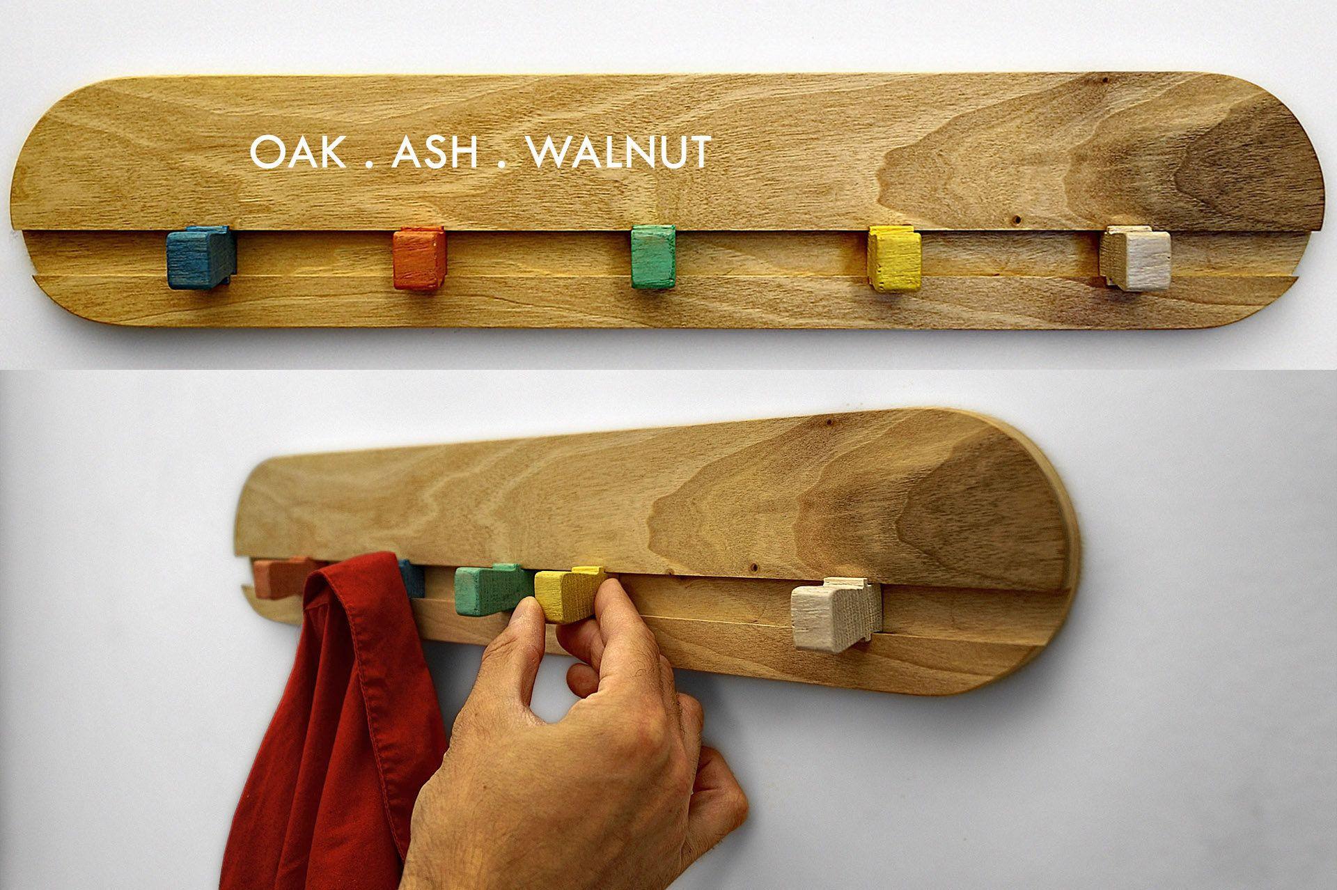 Wall Hook Kids Walnut Coat Rack Wood Wall Hook Peg Rack