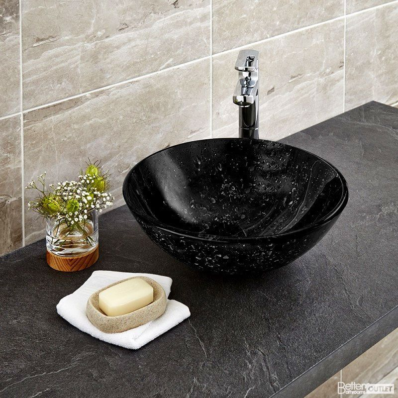420mm Black Glass Round Countertop Bowl Sink Extended Basin Mixer
