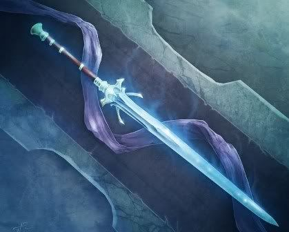 beautifully glowing magical blue sword glowing as a result of the