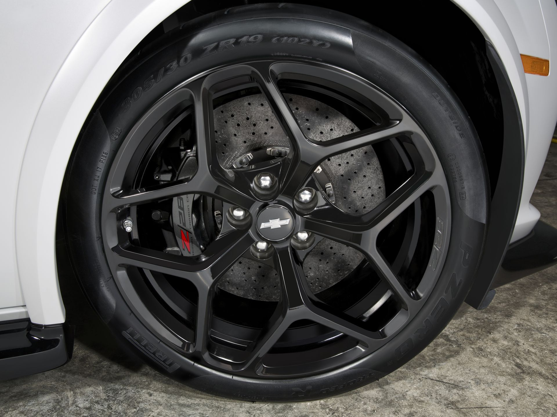 The 2014 Chevrolet Camaro Z28 has standard carbon-ceramic Brembo brakes