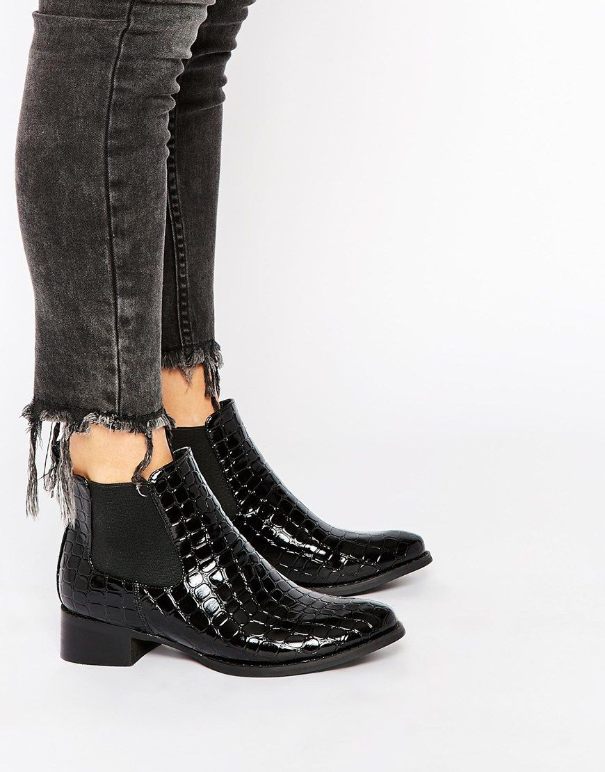 Daisy street black patent croc effect ankle boots clothes