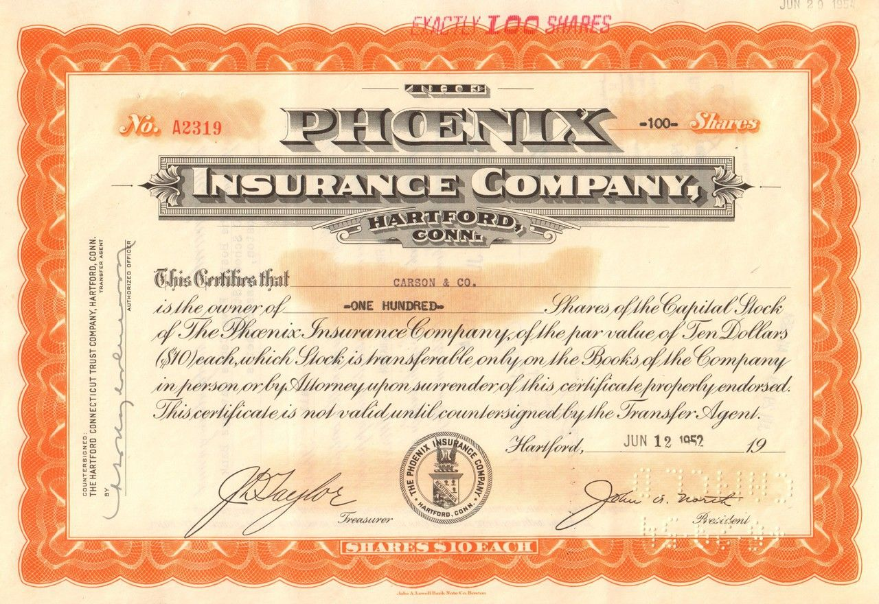 Phoenix Insurance Company Hartford Conn 1952 Stock Certificates