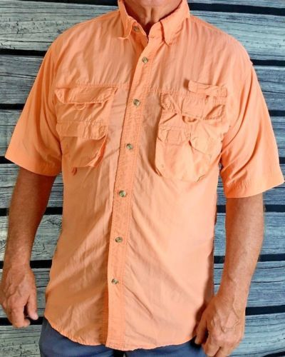 Mens Rugged Earth Outers Short Sleeve Vented Back Fishing Shirt Size Medium