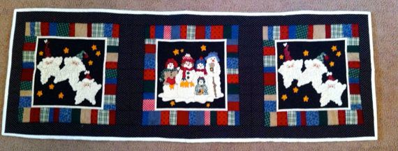 Handmade Quilted Holiday Table Runner Ready to Ship by anniscrafts, $45.00