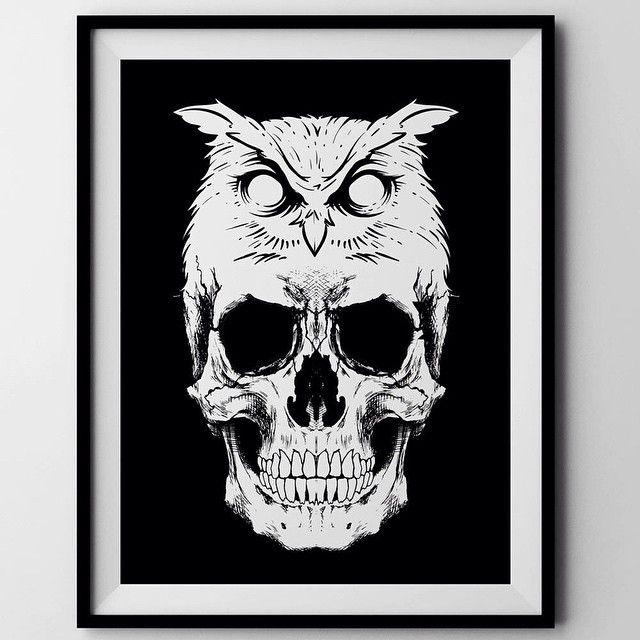 Skull Owl head by Russ #skull #skulls #skullart
