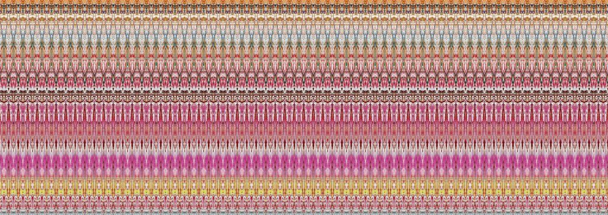 Gerhard Richter — Motifs - Gerhard Richters experiment of taking an image of an original abstract painting and dividing it vertically into two. Each divided part is divided again, mirrored and repeated, producing ever narrower strips, which results in patterns.