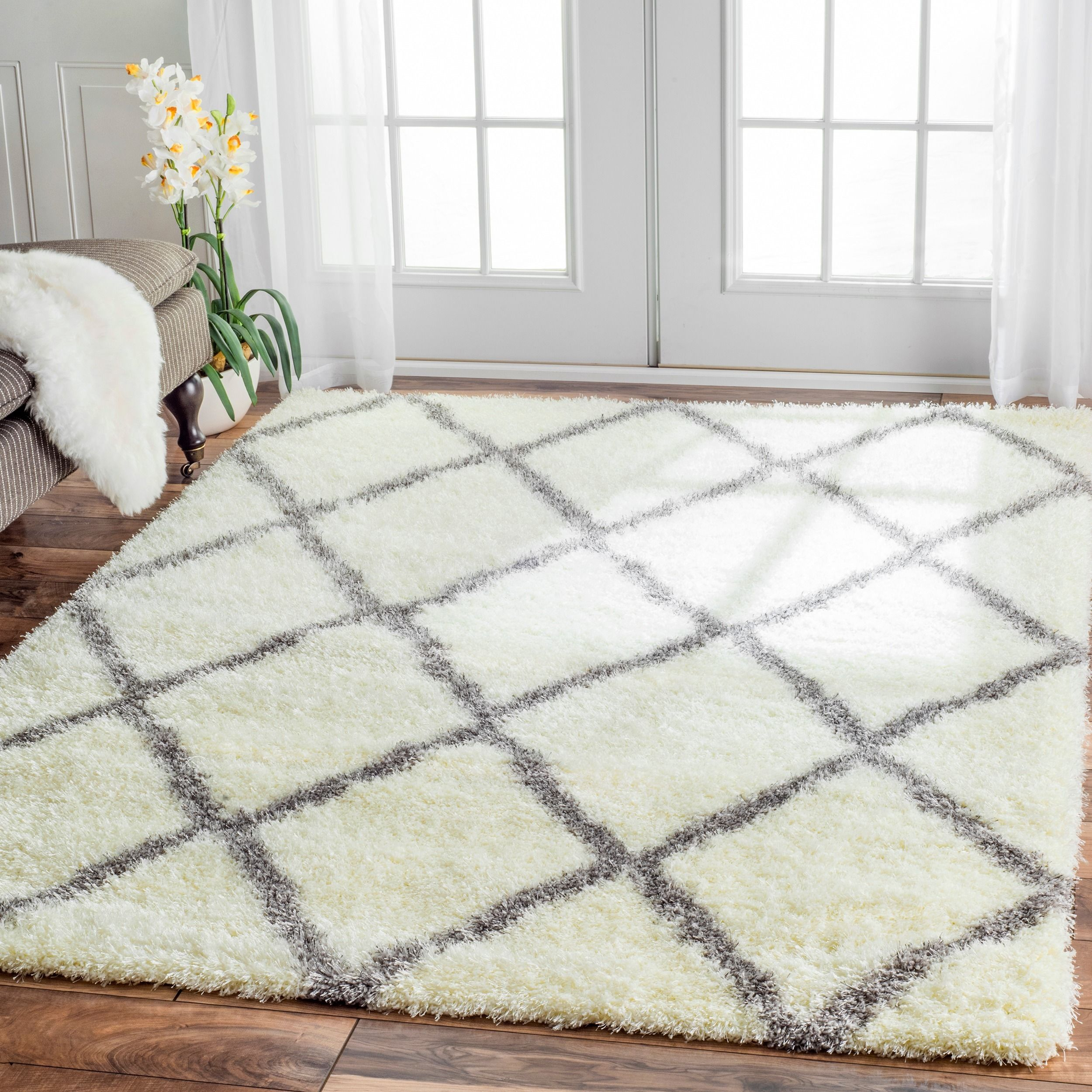 moroccanstyle berber trellis shag rug (' x ') by i love  - inspired by moroccan berber carpets this trellis shag rug adds depth toyour decor