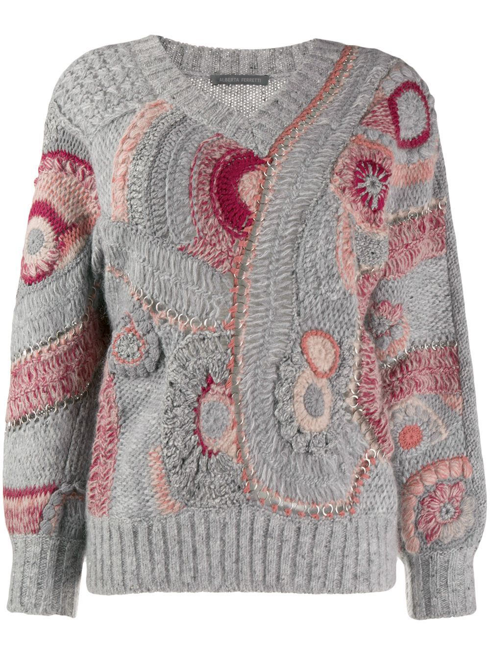 Alberta Ferretti Eyelet patterned knit jumper - Grey