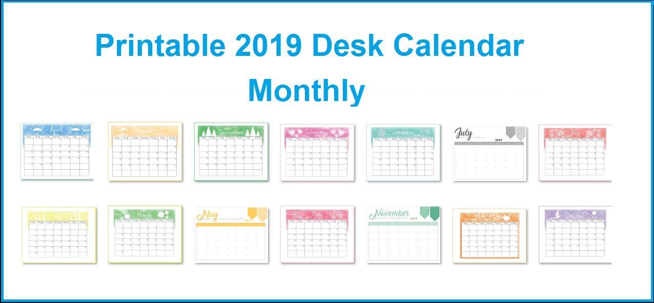 Printable 2019 Desk Calendar Monthly Calendar Templates in 2018