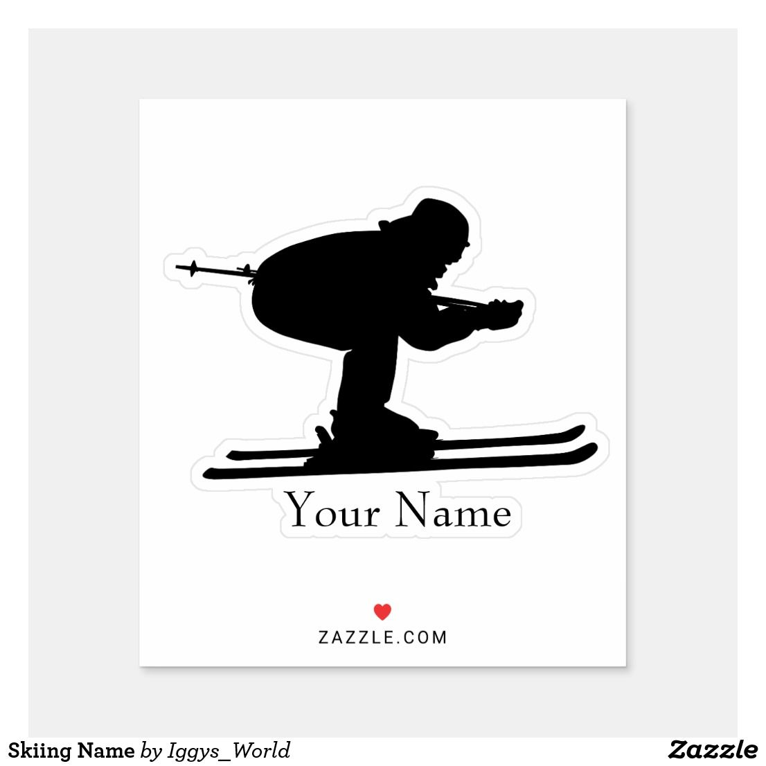 Skiing Name Sticker Zazzle Com Name Stickers Disney Sticker Personalized Stickers [ 1106 x 1106 Pixel ]