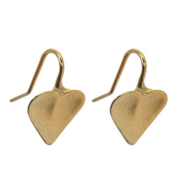 Heart Earrings Gold Plated - One piece solid heart earrings; a timeless and elegant motif.  Slightly irregular shape for a natural feel. Cast Brass finished with a 9ct Gold plate.  Also available in solid sterling silver. Height 18mm.